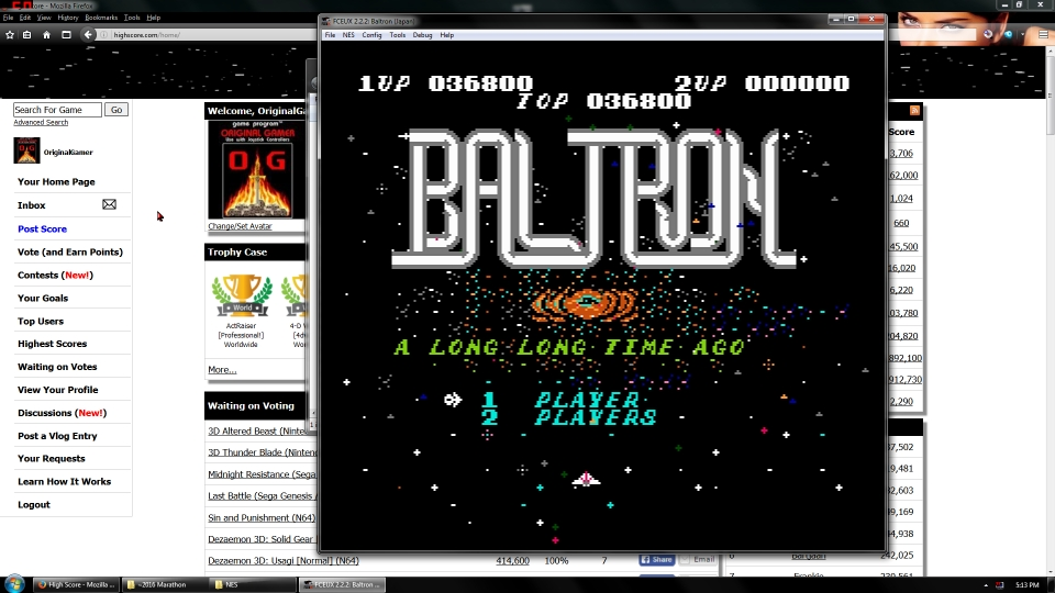 OriginalGamer: Baltron (NES/Famicom Emulated) 36,800 points on 2016-06-30 16:51:34