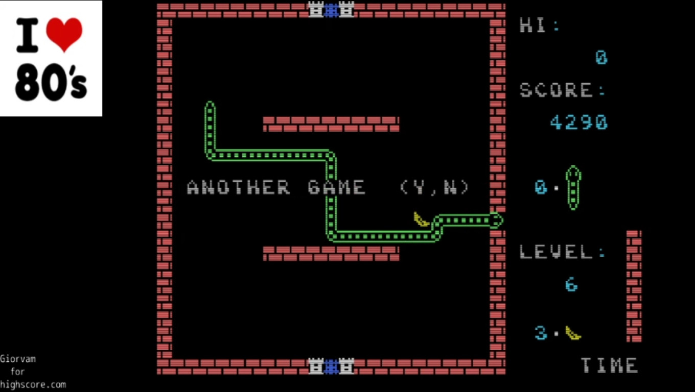 Giorvam: Banana Worm [Speed 0 [Fast]] (MSX Emulated) 4,290 points on 2020-01-01 14:10:54