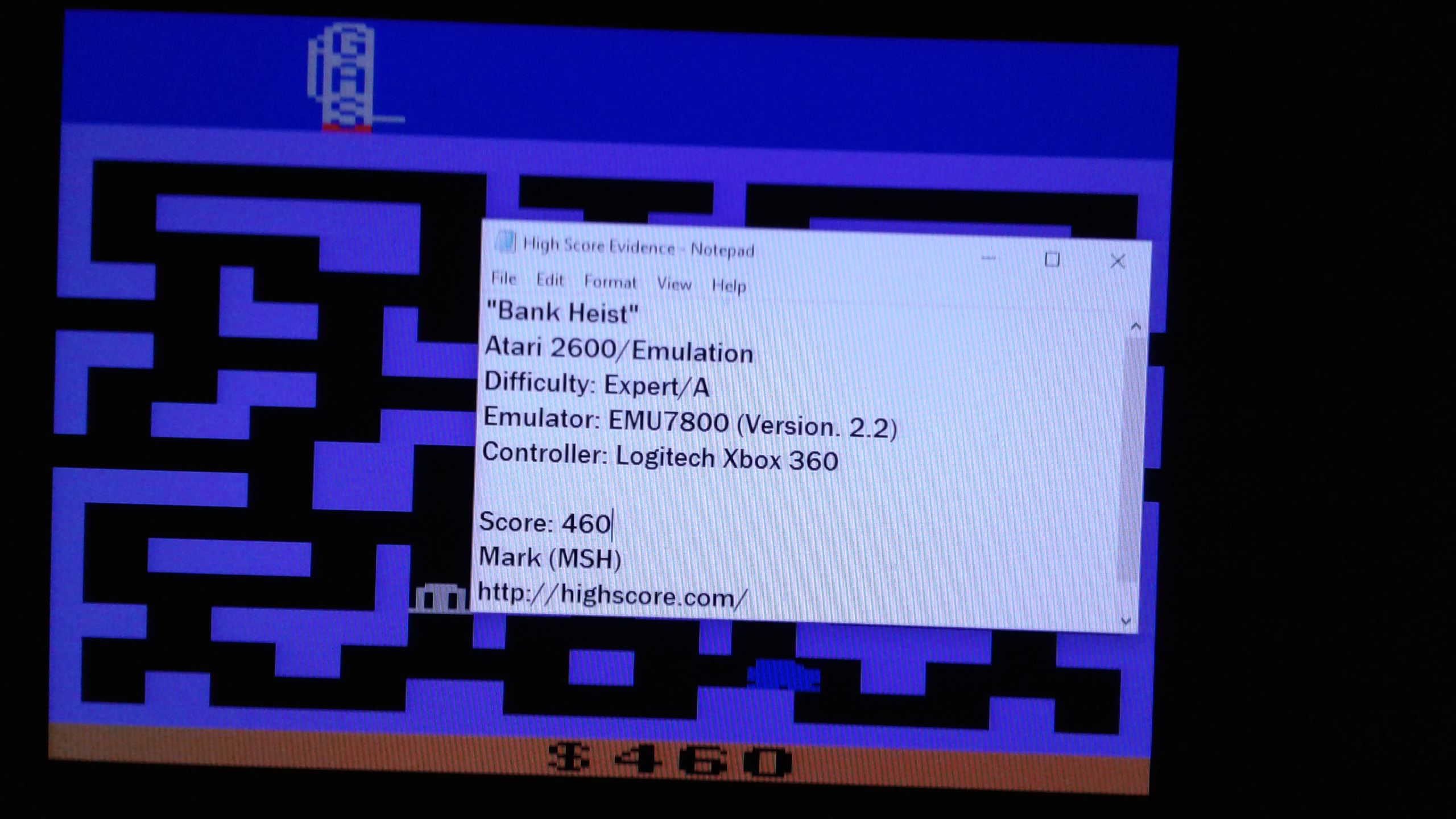 Mark: Bank Heist (Atari 2600 Emulated Expert/A Mode) 460 points on 2019-03-17 01:03:04