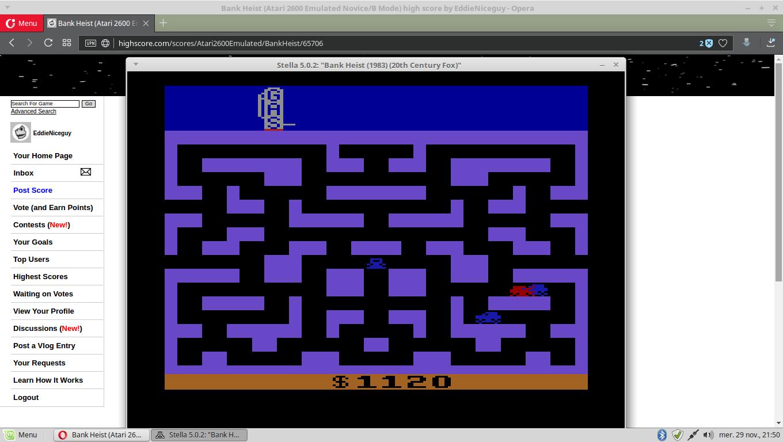 EddieNiceguy: Bank Heist (Atari 2600 Emulated Novice/B Mode) 1,120 points on 2017-11-29 14:51:36
