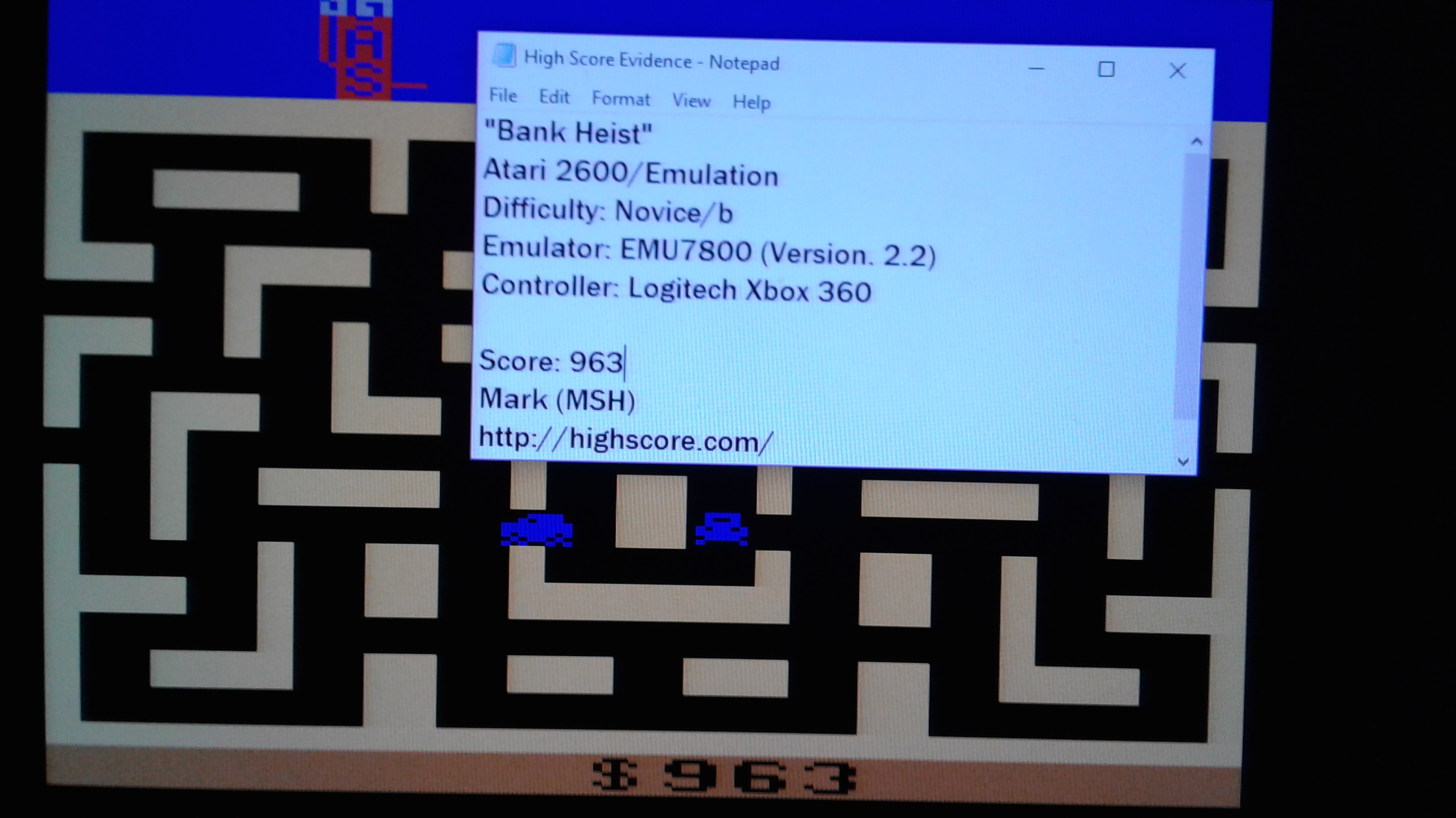 Mark: Bank Heist (Atari 2600 Emulated Novice/B Mode) 963 points on 2019-03-17 00:58:17