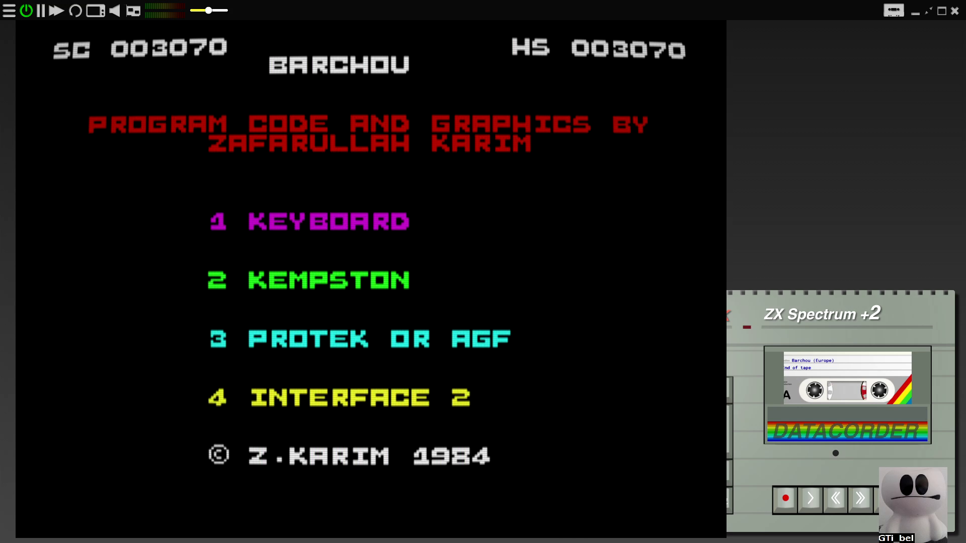 GTibel: Barchou (ZX Spectrum Emulated) 3,070 points on 2020-08-03 08:00:38