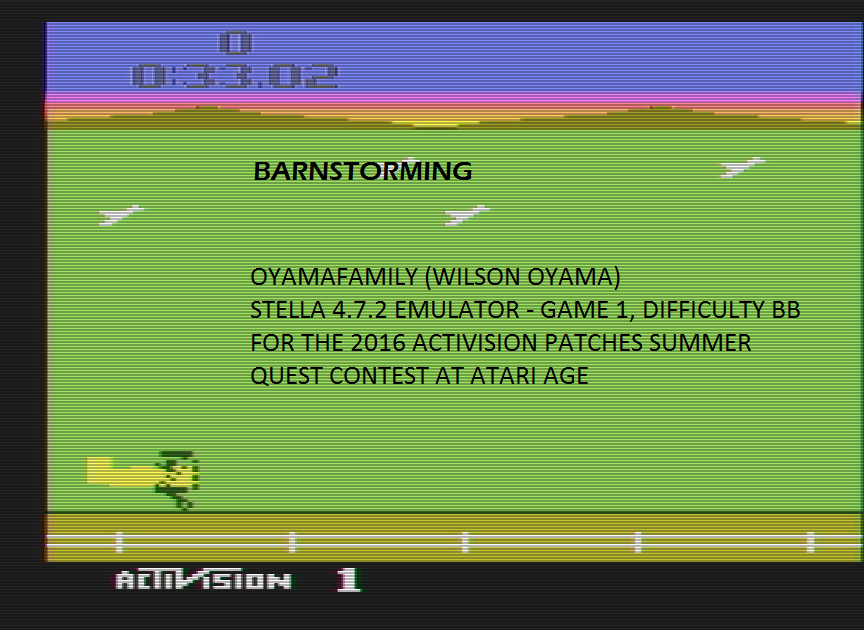 oyamafamily: Barnstorming (Atari 2600 Emulated Novice/B Mode) 0:00:33.02 points on 2016-06-24 20:44:32