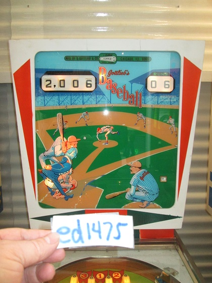 ed1475: Baseball [Gottlieb] (Pinball: 3 Balls) 2,006 points on 2017-04-14 19:17:59