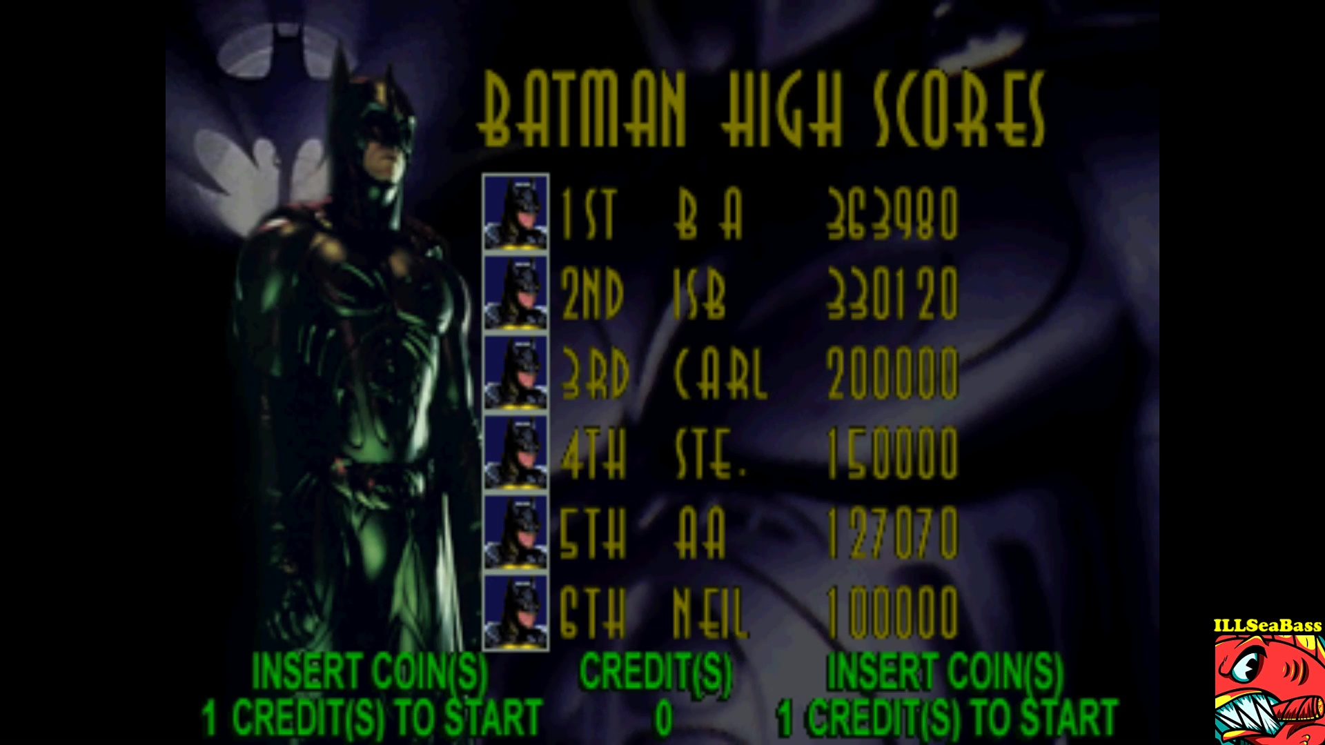ILLSeaBass: Batman Forever [batmanfr] (Arcade Emulated / M.A.M.E.) 330,120 points on 2017-10-29 19:37:48