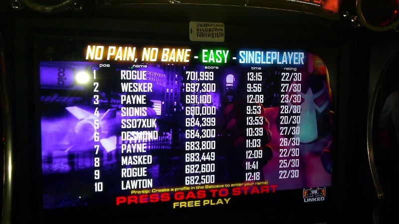 Batman [Raw Thrills]: Bane: No Pain, No Bane [Easy] 648,950 points
