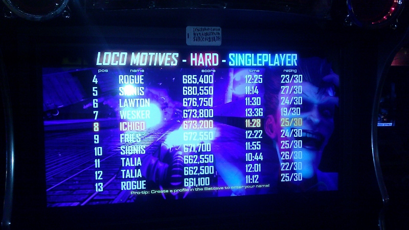 Batman [Raw Thrills]: The Joker: Loco Motives [Hard] 673,200 points