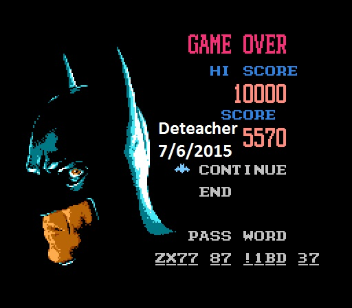 Deteacher: Batman Returns (NES/Famicom Emulated) 5,570 points on 2015-07-06 12:53:41