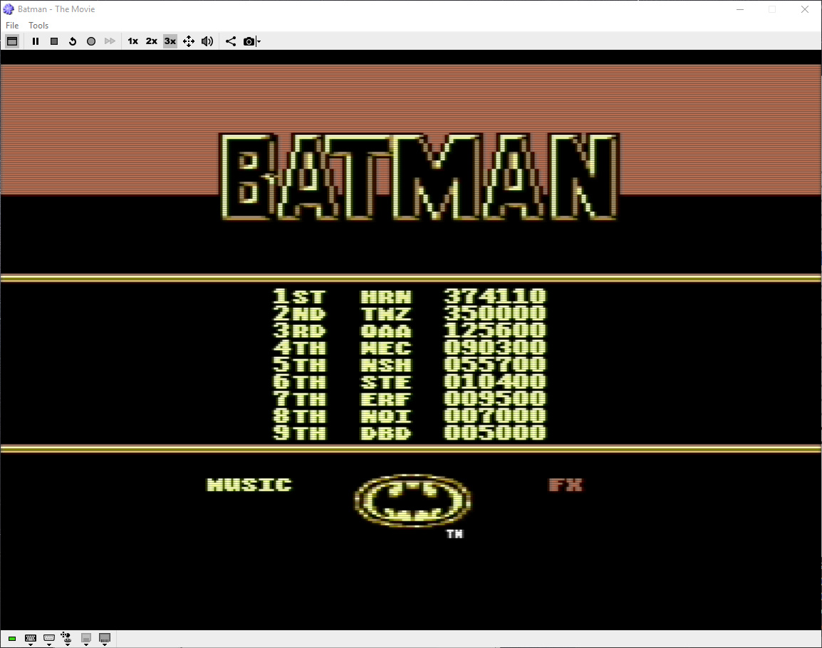 Hyeron: Batman: The Movie (Commodore 64 Emulated) 374,110 points on 2019-06-08 03:29:39