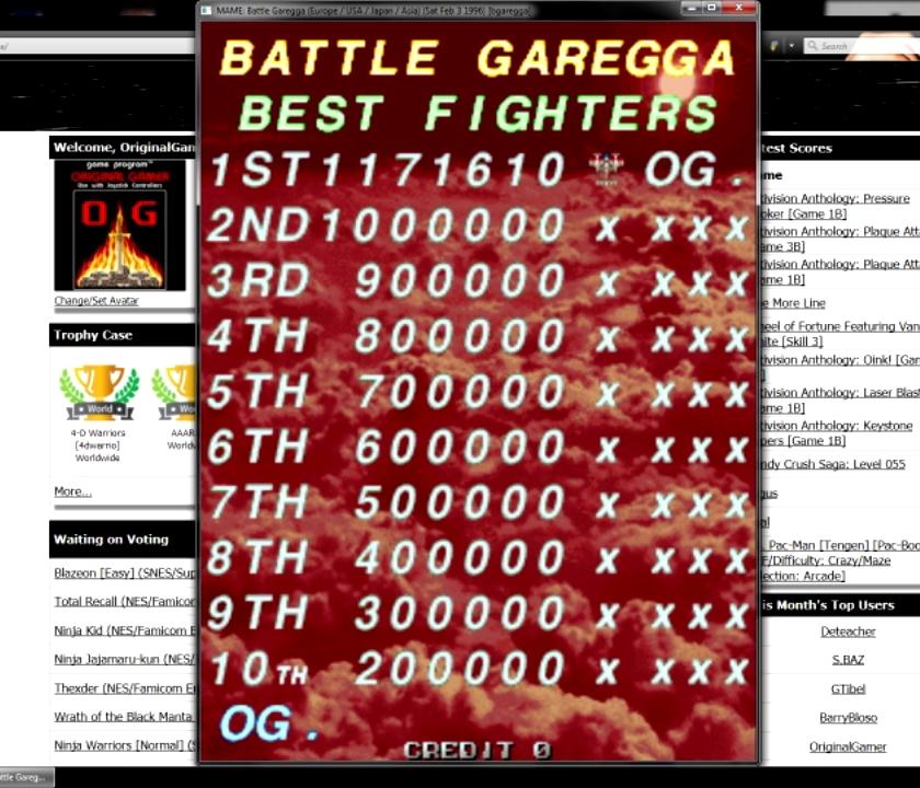 OriginalGamer: Battle Garegga [bgaregga] (Arcade Emulated / M.A.M.E.) 1,171,610 points on 2015-07-16 18:27:52