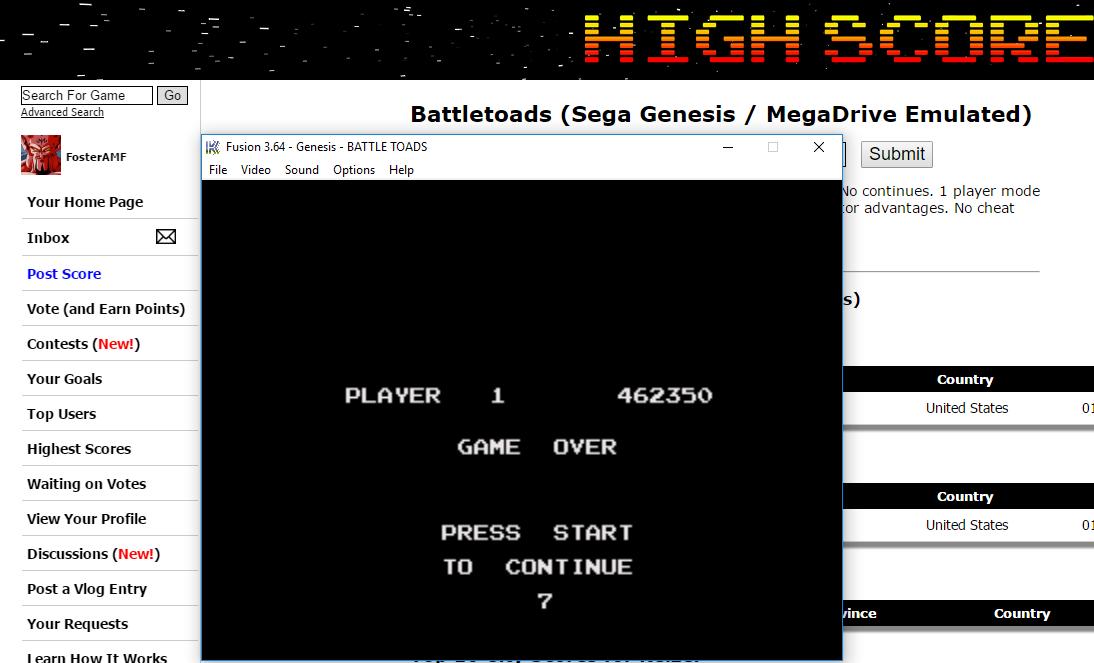 FosterAMF: Battletoads (Sega Genesis / MegaDrive Emulated) 462,350 points on 2016-05-15 00:21:22