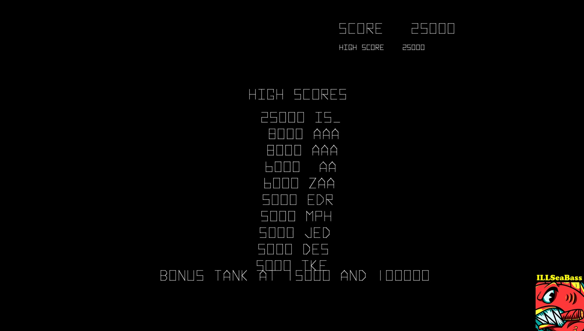 ILLSeaBass: Battlezone (Arcade Emulated / M.A.M.E.) 25,000 points on 2017-09-09 06:35:12