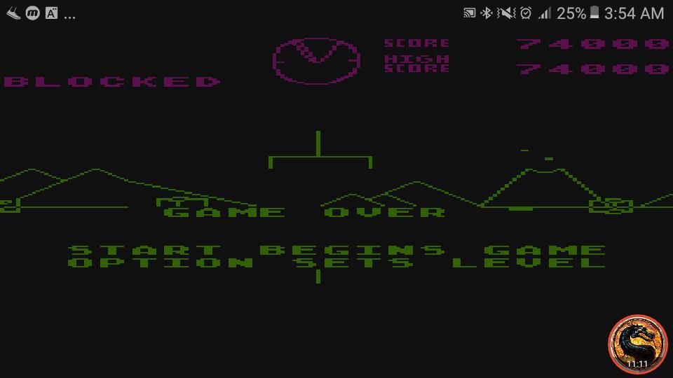 omargeddon: Battlezone (Atari 400/800/XL/XE Emulated) 74,000 points on 2019-02-13 03:51:19