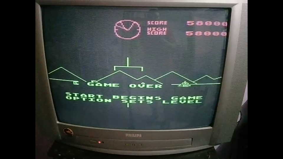 omargeddon: Battlezone (Atari 400/800/XL/XE) 58,000 points on 2020-08-06 03:15:43