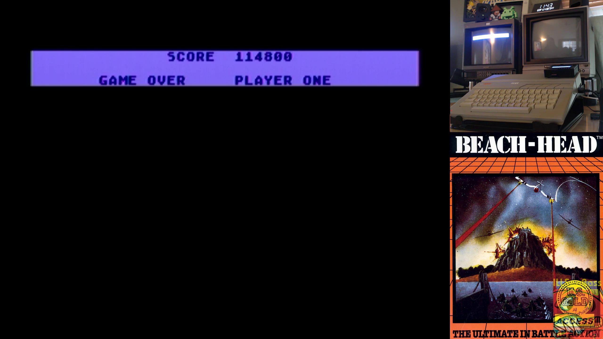 ILLSeaBass: Beach Head (Atari 400/800/XL/XE) 114,800 points on 2018-12-08 18:02:07