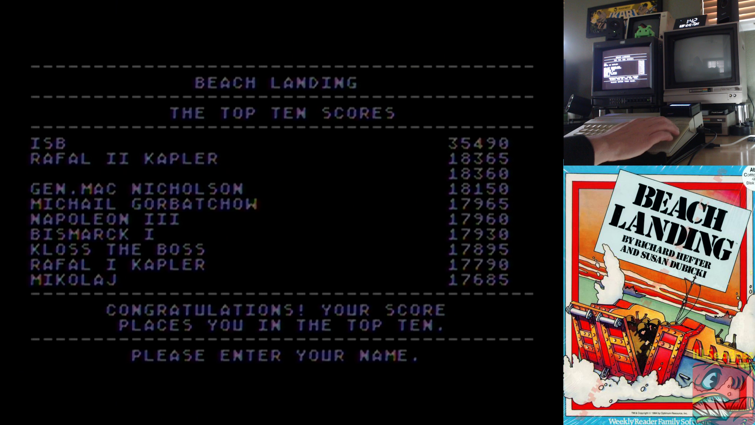 ILLSeaBass: Beach Landing (Atari 400/800/XL/XE) 35,490 points on 2018-12-01 14:43:27