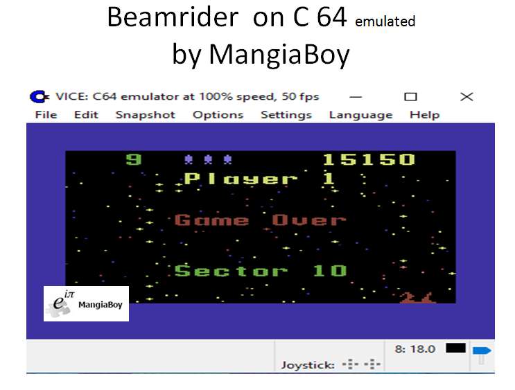 MangiaBoy: Beamrider: Difficulty 1 (Commodore 64 Emulated) 15,150 points on 2016-12-29 15:34:42