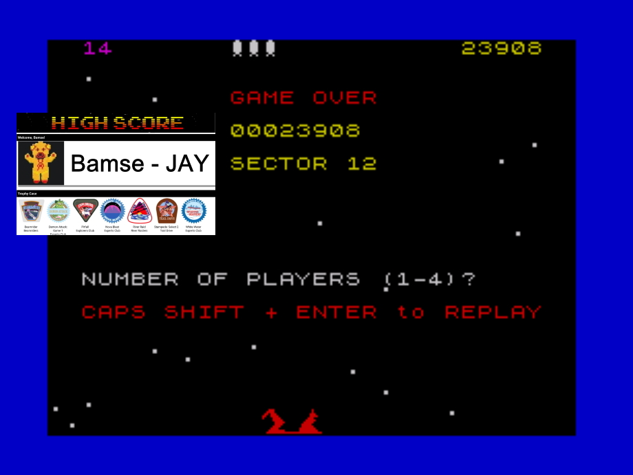 Bamse: Beamrider (ZX Spectrum Emulated) 23,908 points on 2019-11-28 15:56:51