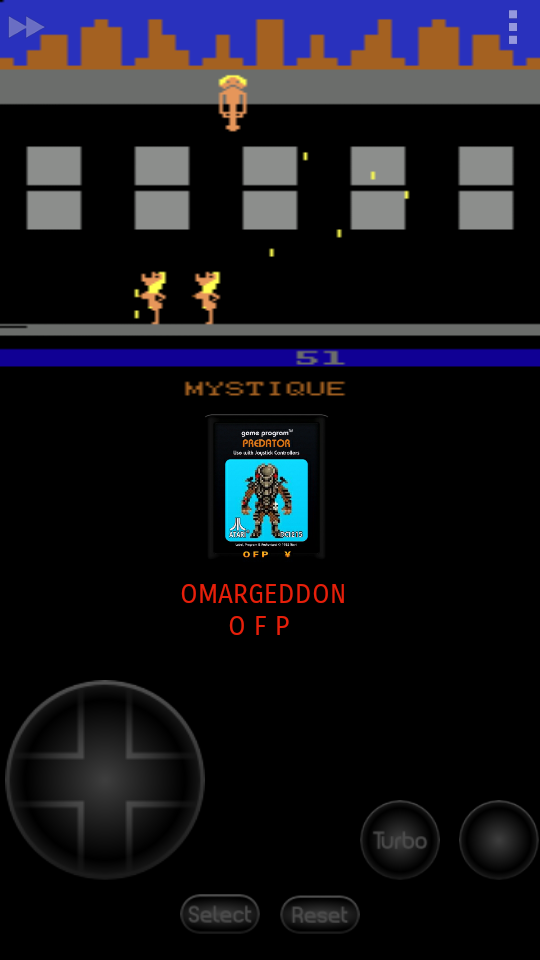 omargeddon: Beat Em and Eat Em (Atari 2600 Emulated Expert/A Mode) 51 points on 2017-06-27 00:04:46