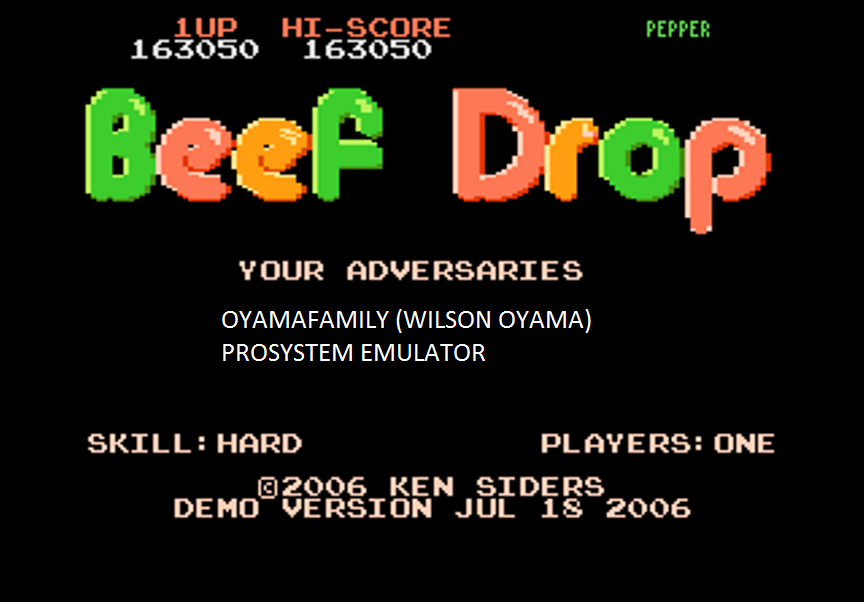 oyamafamily: Beef Drop: Hard [Demo Version] (Atari 7800 Emulated) 163,050 points on 2016-03-08 19:20:09