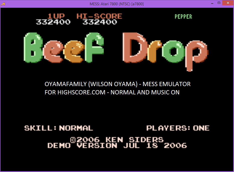 oyamafamily: Beef Drop: Normal [Demo Version] (Atari 7800 Emulated) 332,400 points on 2015-12-26 16:16:13
