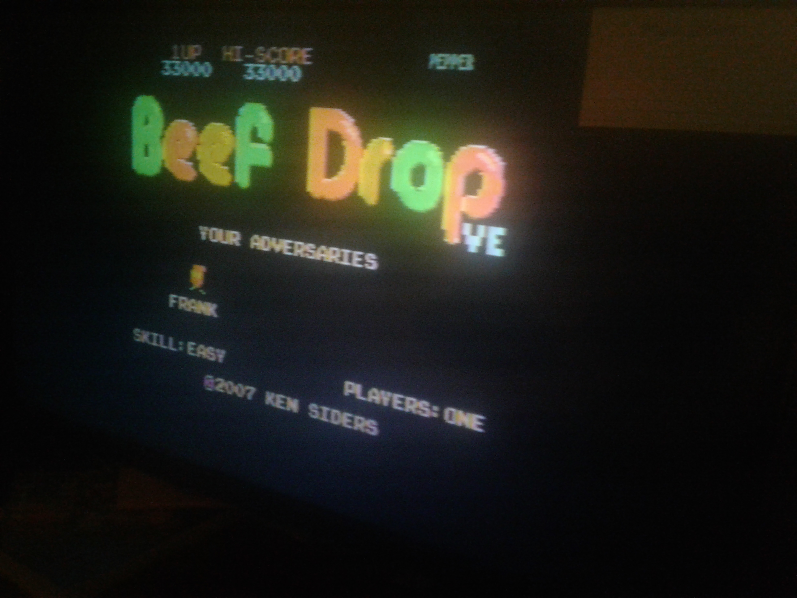 Mark: Beef Drop VE [Easy] (Atari 7800) 33,000 points on 2019-02-08 23:39:37