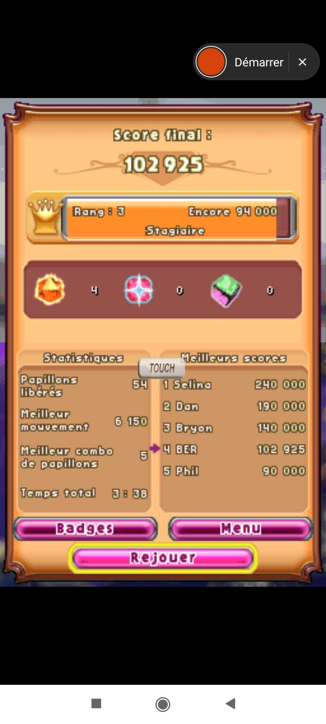 Larquey: Bejeweled 3: Butterflies [High Score] (Nintendo DS Emulated) 102,925 points on 2020-09-27 04:20:33