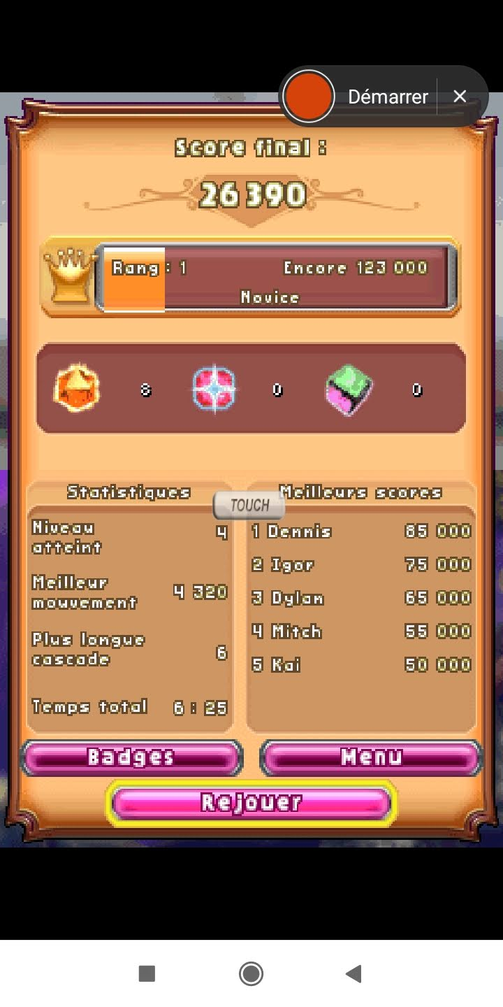Larquey: Bejeweled 3: Classic [Number of Flame Gems] (Nintendo DS Emulated) 8 points on 2020-09-23 11:52:30