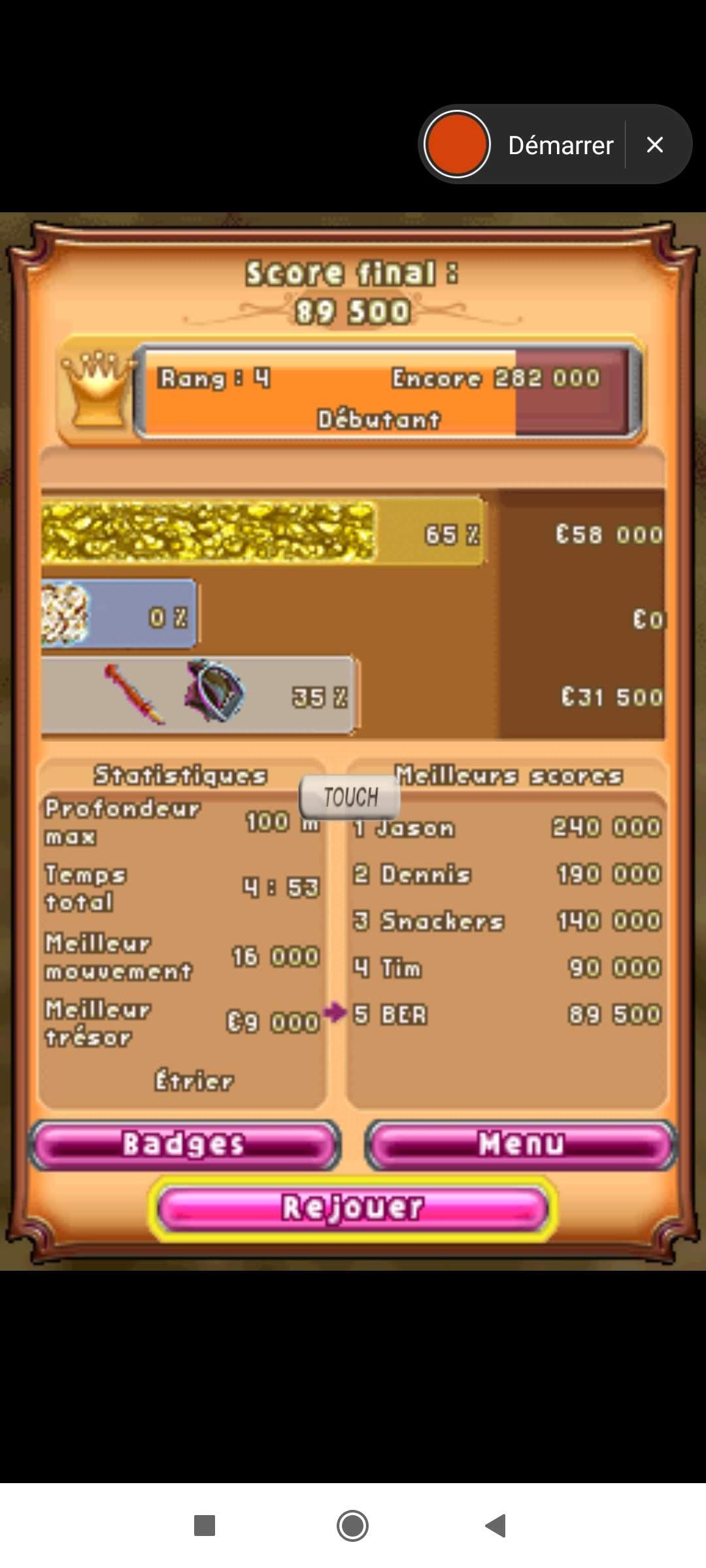 Larquey: Bejeweled 3: Diamond Mine [Max Depth] (Nintendo DS Emulated) 100 points on 2020-09-27 12:25:43