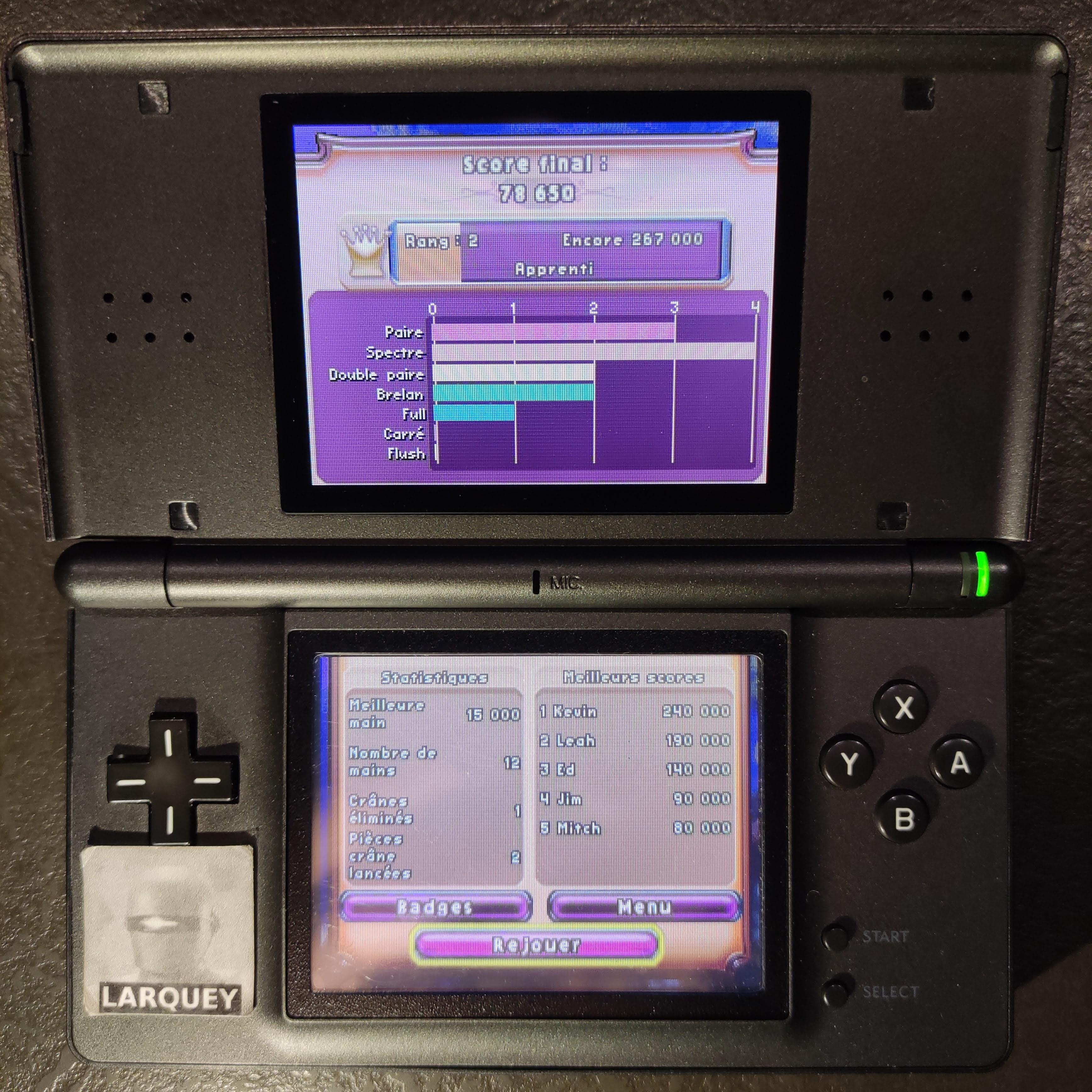 Larquey: Bejeweled 3: Poker [Best Hand] (Nintendo DS) 15,000 points on 2020-09-26 03:56:00