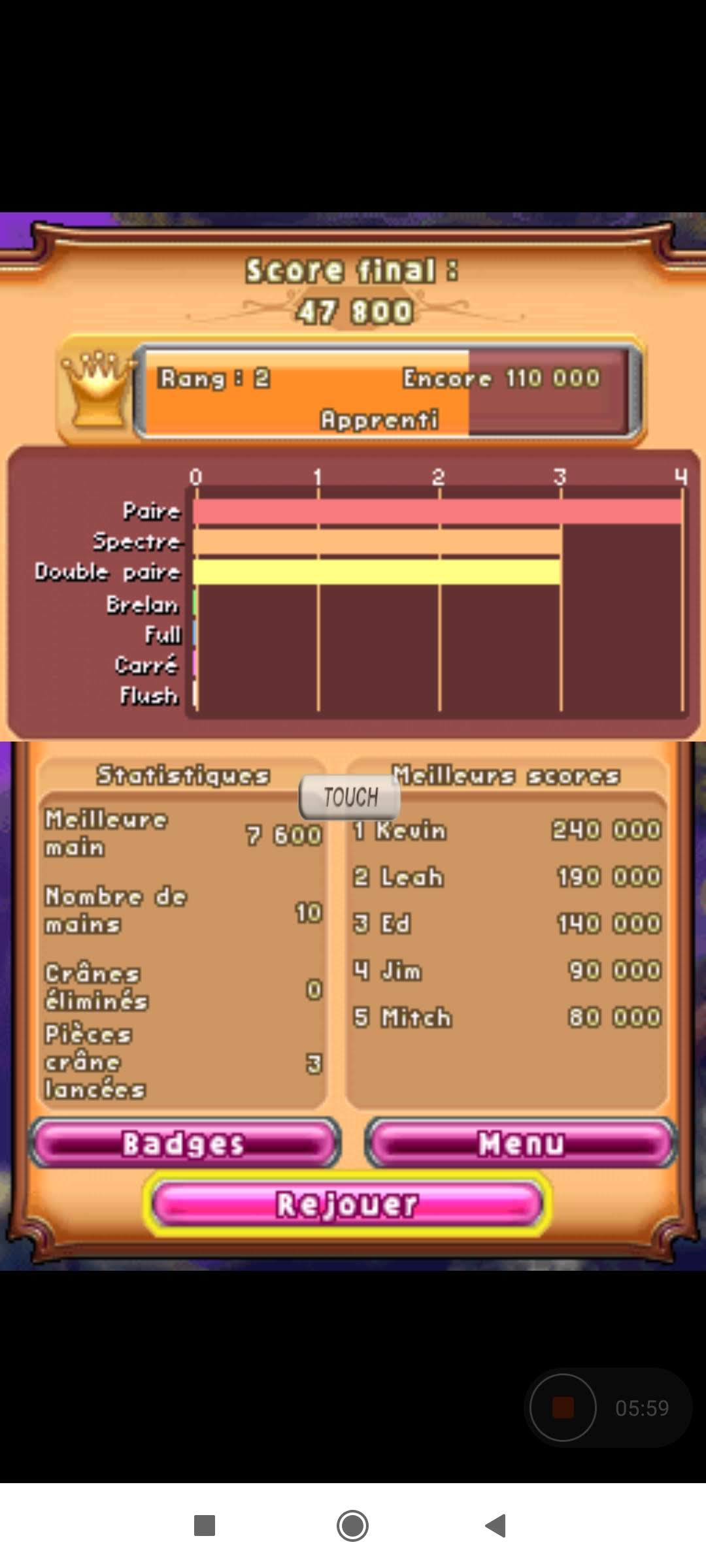 Larquey: Bejeweled 3: Poker [Number of Hands] (Nintendo DS Emulated) 10 points on 2020-09-26 03:15:39