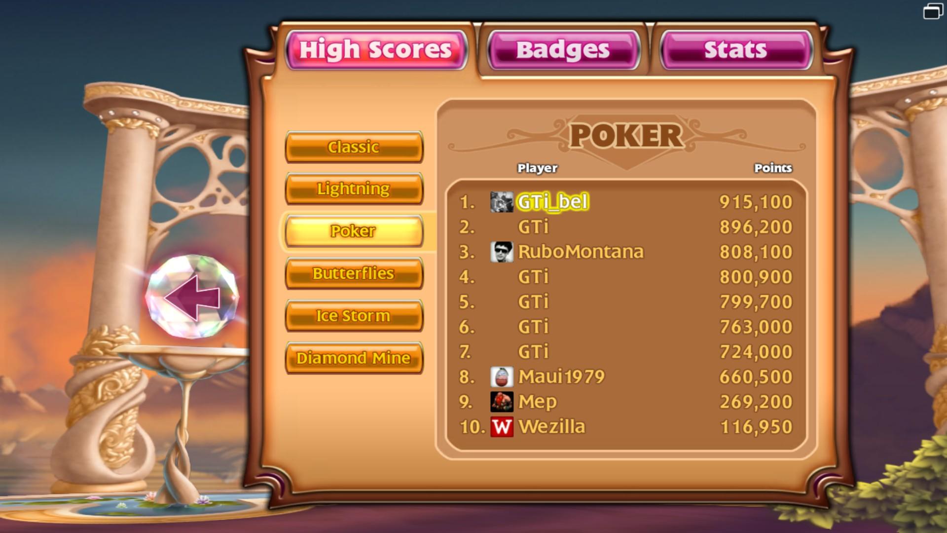GTibel: Bejeweled 3 [Poker] (PC) 915,100 points on 2018-01-26 01:39:30