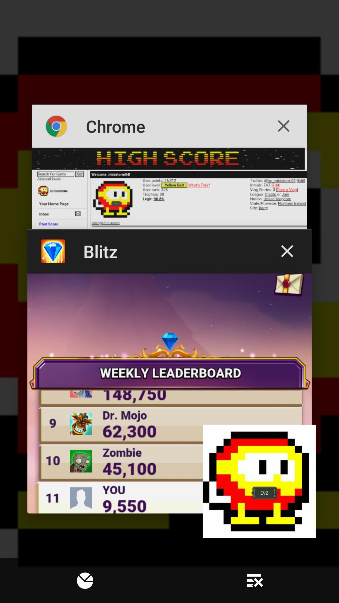Bejeweled Blitz 9,550 points