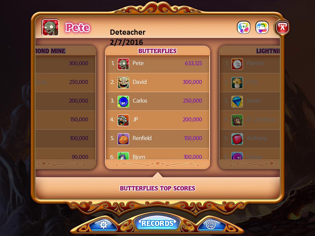 Deteacher: Bejeweled HD [Butterflies] (iOS) 633,125 points on 2016-02-07 19:03:33