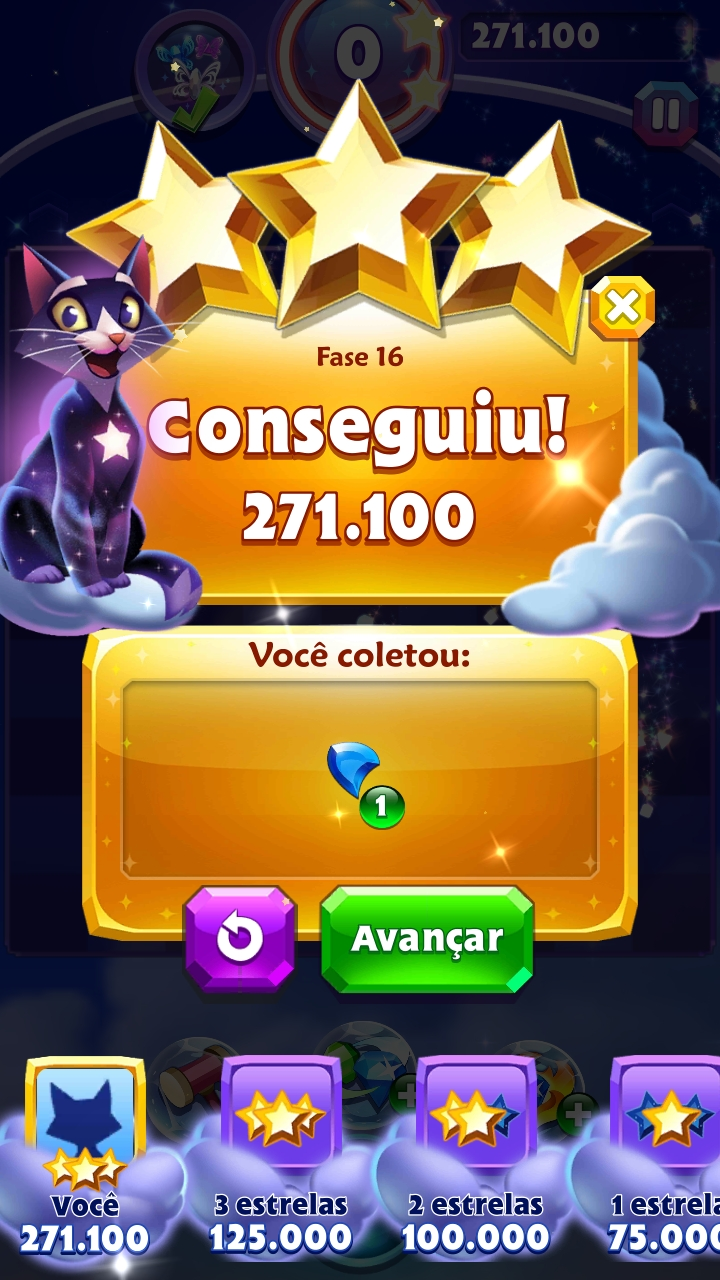 Bejeweled Stars: Level 16 - Say Hello to My Little Friends 271,100 points