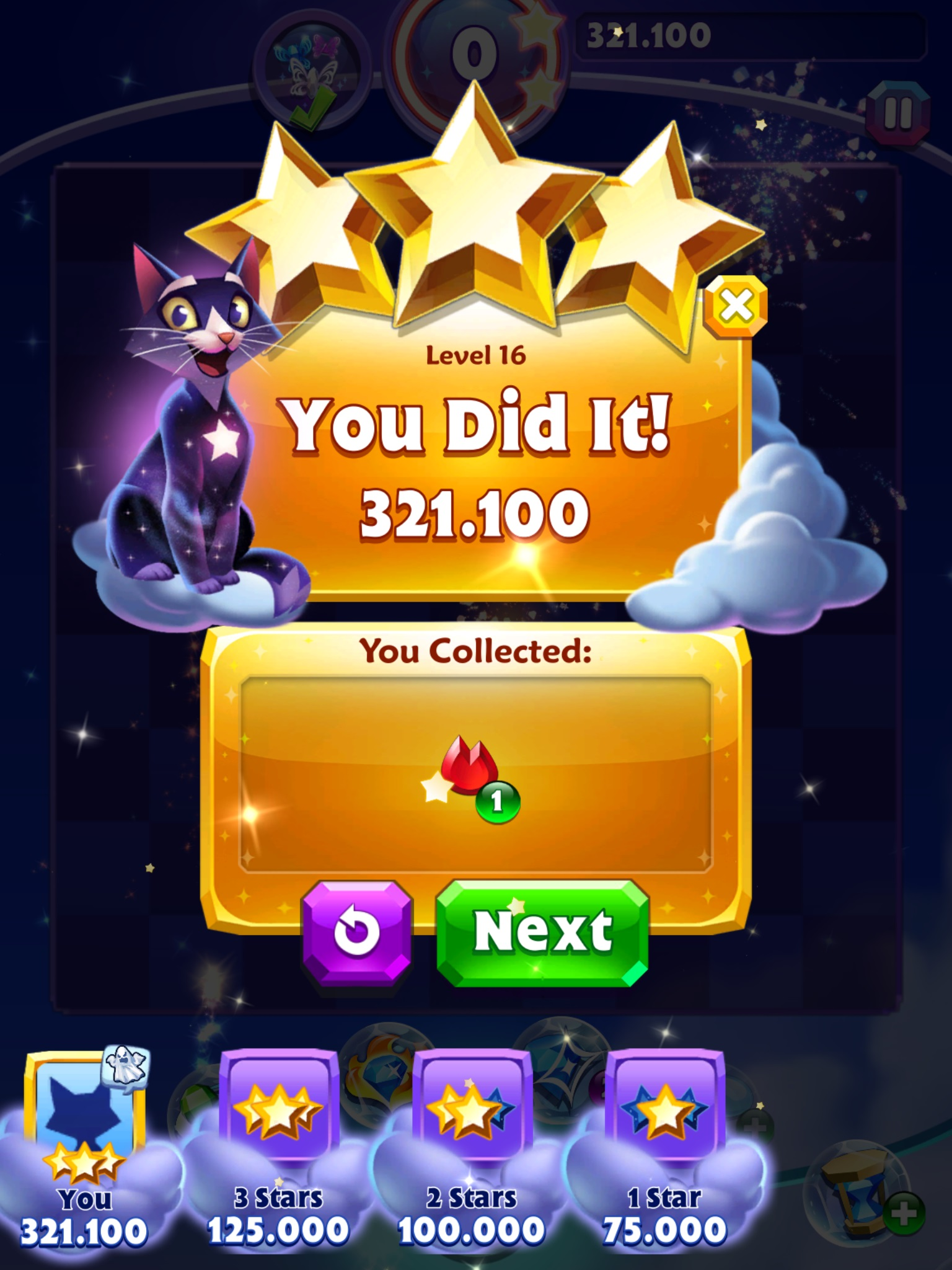 GTibel: Bejeweled Stars: Level 16 - Say Hello to My Little Friends (Android) 321,100 points on 2019-08-21 05:33:19