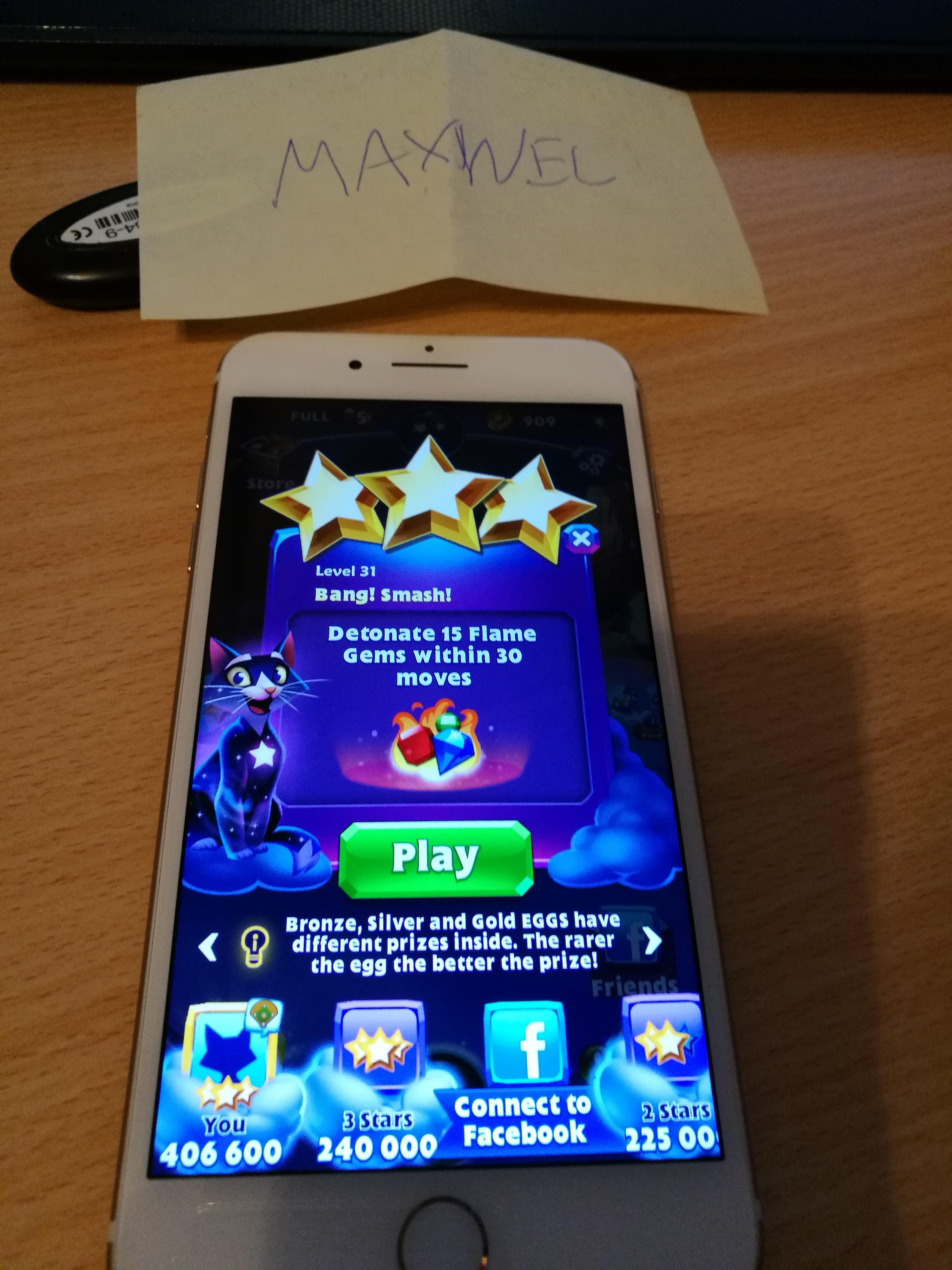 Maxwel: Bejeweled Stars: Level 31: Ban I smash ! (iOS) 406,600 points on 2016-11-13 16:15:38