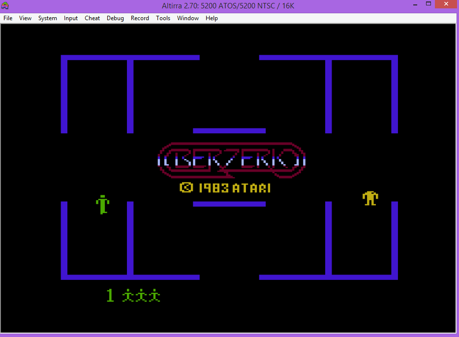 oyamafamily: Berzerk: Game 1 (Atari 5200 Emulated) 3,020 points on 2016-04-23 19:44:01