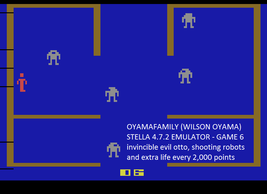 oyamafamily: Berzerk: Game 6 (Atari 2600 Emulated) 19,130 points on 2016-07-11 17:06:47