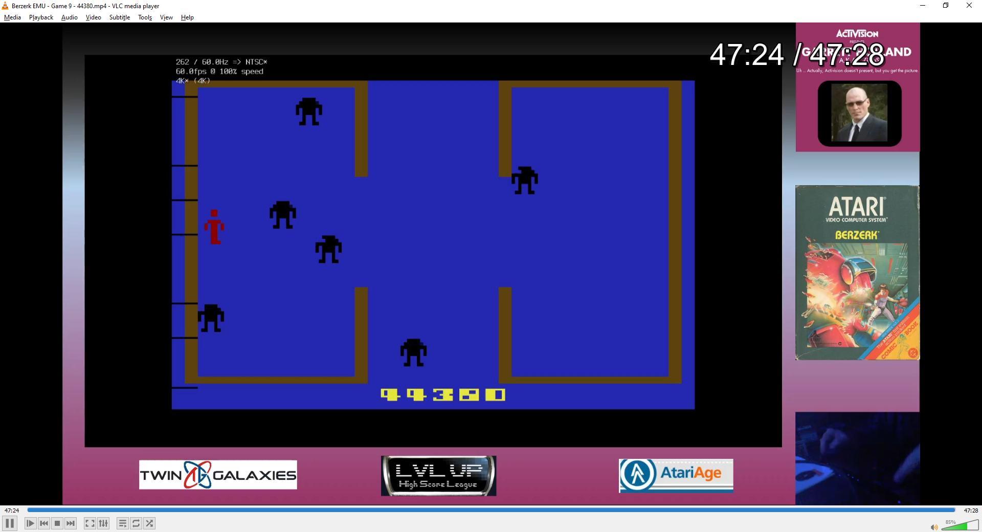 ZilchSr: Berzerk: Game 9 (Atari 2600 Emulated) 44,380 points on 2021-02-13 16:12:35