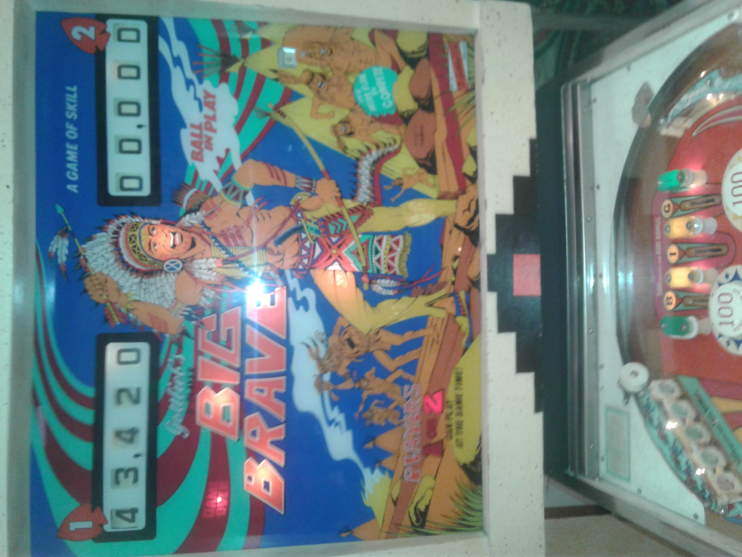 Mark: Big Brave (Gottlieb pinball) (Pinball: 5 Balls) 43,420 points on 2019-01-01 22:00:45