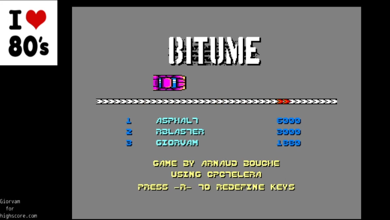 Giorvam: Bitume (Amstrad CPC Emulated) 1,880 points on 2020-01-09 03:59:46