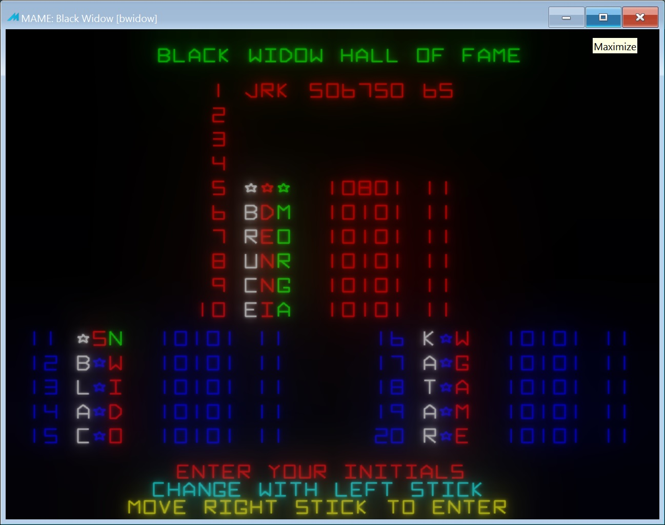 jerky: Black Widow (Arcade Emulated / M.A.M.E.) 506,750 points on 2018-02-02 09:49:29