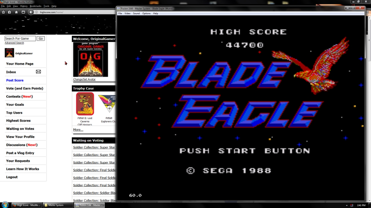 OriginalGamer: Blade Eagle (Sega Master System Emulated) 44,700 points on 2018-02-19 18:06:20