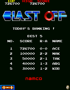 Dumple: Blast Off [Japan] [blastoff] (Arcade Emulated / M.A.M.E.) 726,700 points on 2018-07-28 21:47:54