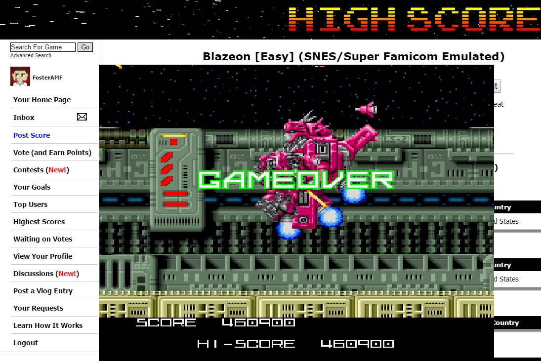 FosterAMF: Blazeon [Easy] (SNES/Super Famicom Emulated) 460,900 points on 2015-09-10 19:57:11