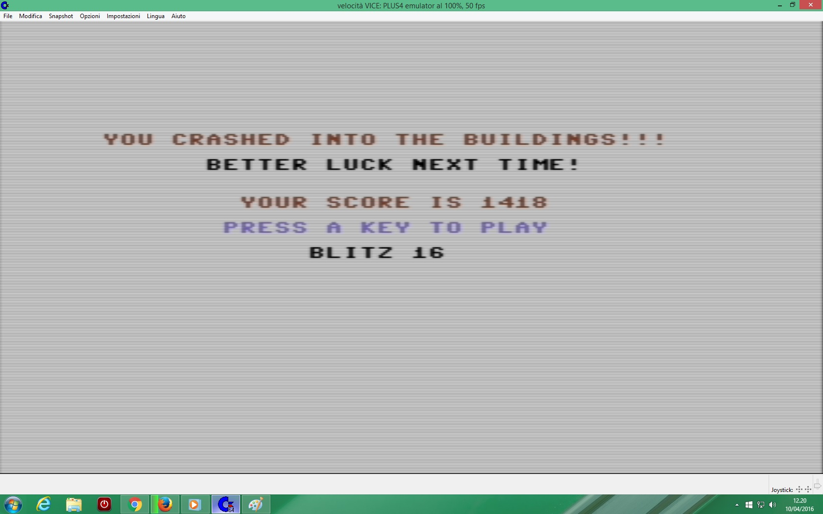 lenny2571: Blitz (Commodore 16/Plus4 Emulated) 1,418 points on 2016-12-08 02:46:32