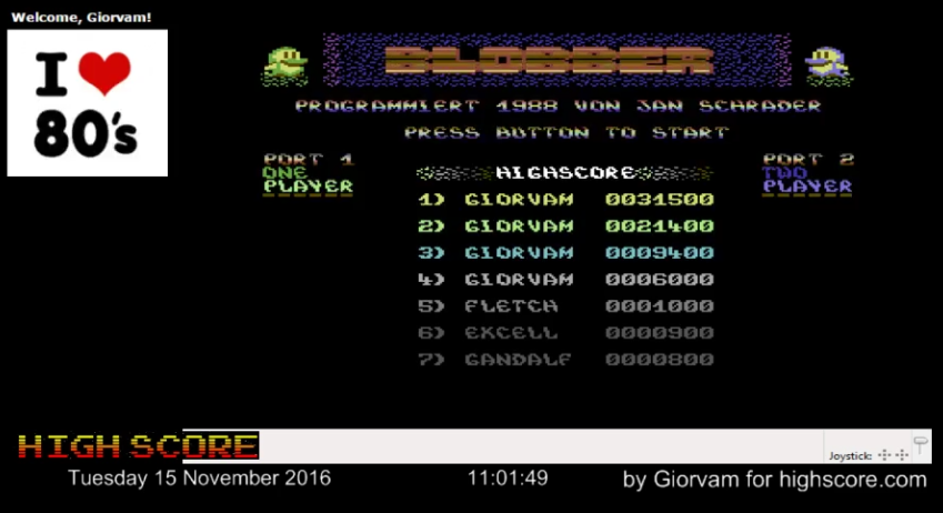 Giorvam: Blobber (Commodore 64 Emulated) 31,500 points on 2016-11-15 03:26:21