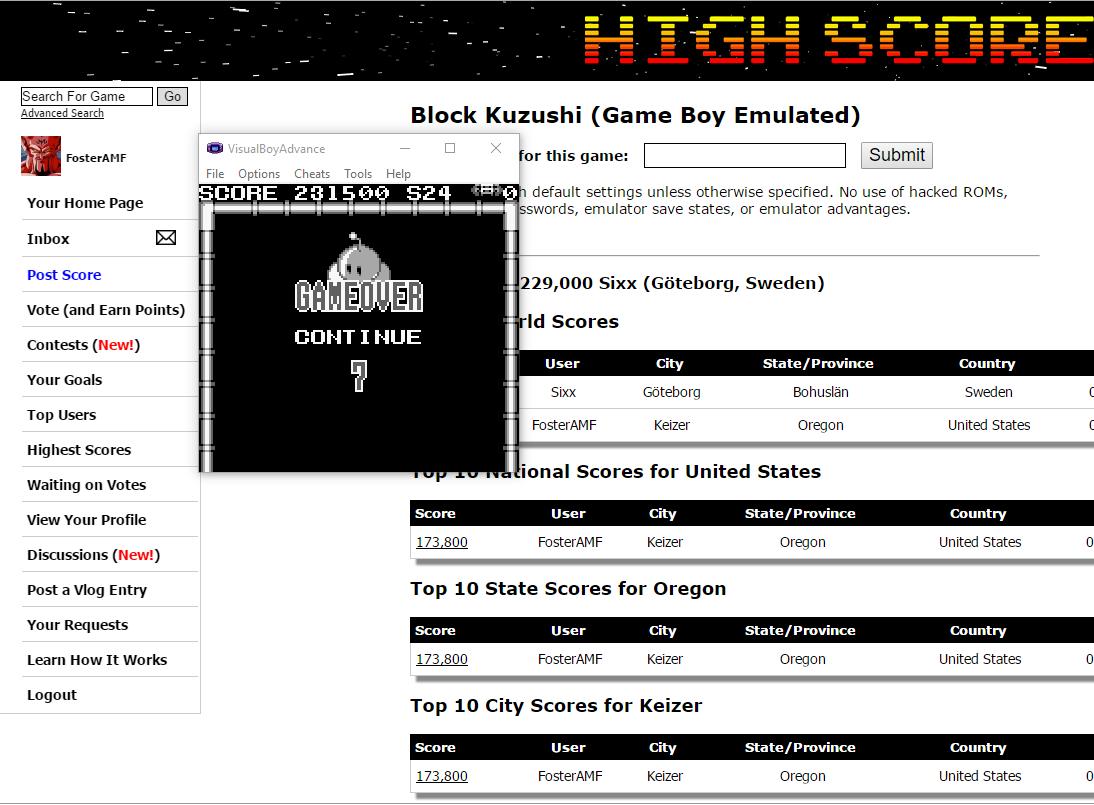 FosterAMF: Block Kuzushi (Game Boy Emulated) 231,500 points on 2016-08-08 03:14:18