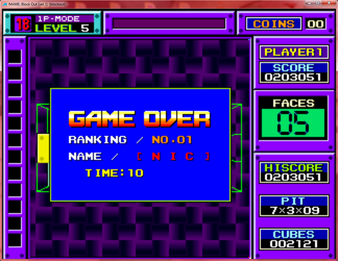 nick666101: Block Out (Arcade Emulated / M.A.M.E.) 203,051 points on 2016-02-19 13:01:10
